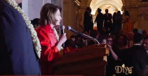Rep. Nancy Pelosi, D-Calif. delivers opening remarks during the National Library of Congress' third annual Diwali Mela celebration