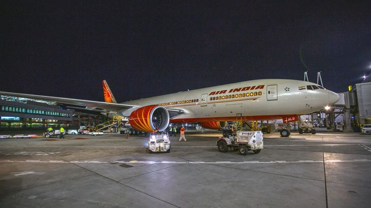 Air India's first flight from New Delhi arrived at SFO before dawn. (Image: Peter Biaggi)