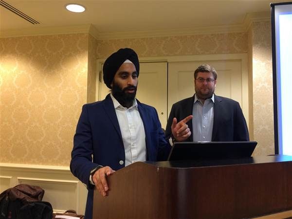 Gurwin Ahuja, executive director for the National Sikh Campaign, spoke at its launch party on March 1. (Photo courtesy of the National Sikh Campaign)