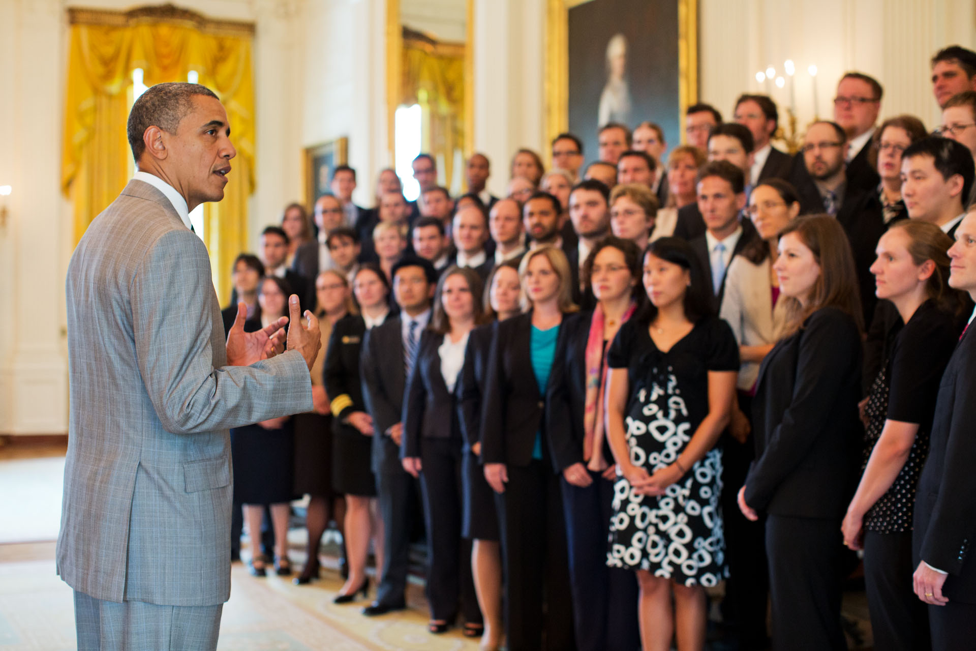 President Barack Obama addresses 2011 Presidential Early Career Awards for Scientists and Engineers (PECASE) recipients in the East Room of the White House, July 31, 2012. (Official White House Photo by Pete Souza)