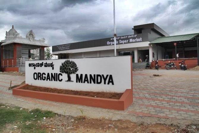 The 'Organic Mandya' store along 'Mysuru-Bengaluru' highway