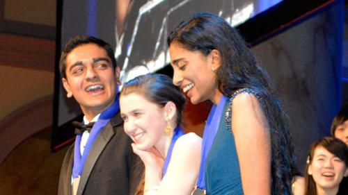 Maya Varma, right, with fellow first-place winners Amol Punjabi of Marlborough, Mass., and Paige Brown of Bangor, Maine (Intel Science Talent Search)