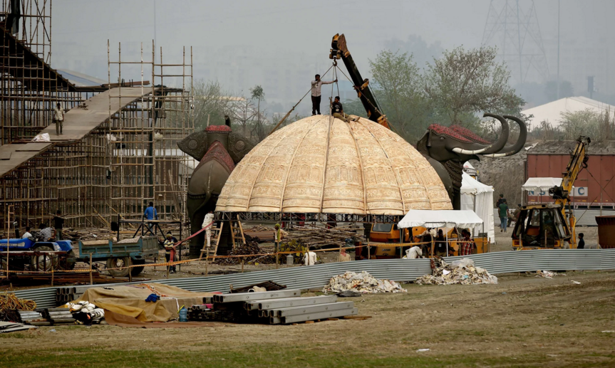 Construction work gets under way on the banks of the Yamuna in New Delhi. Photograph: Money Sharma/AFP/Getty Images