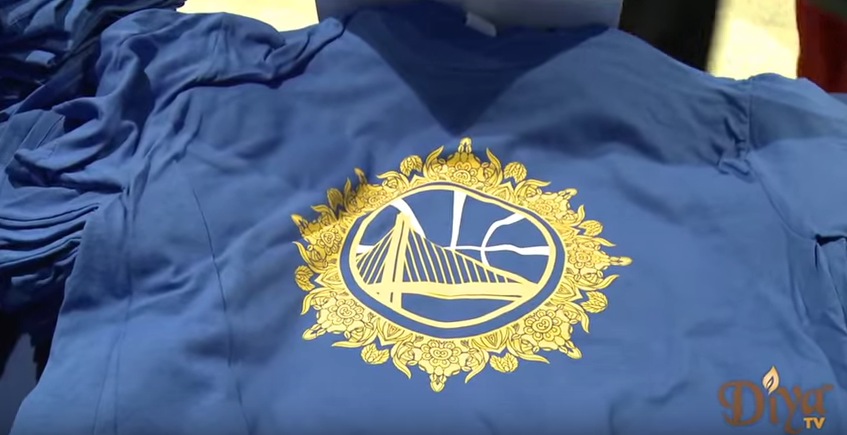 A 2016 Golden State Warriors Bollywood Night t-shirt, Photo Courtesy of Diya TV