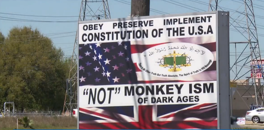Anti Hindu Signs near the Dairy Queen on Highway 146 in Texas