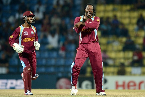 Chris Gayle leads the Gangnam dance at Pallekele (Prakash Singh)
