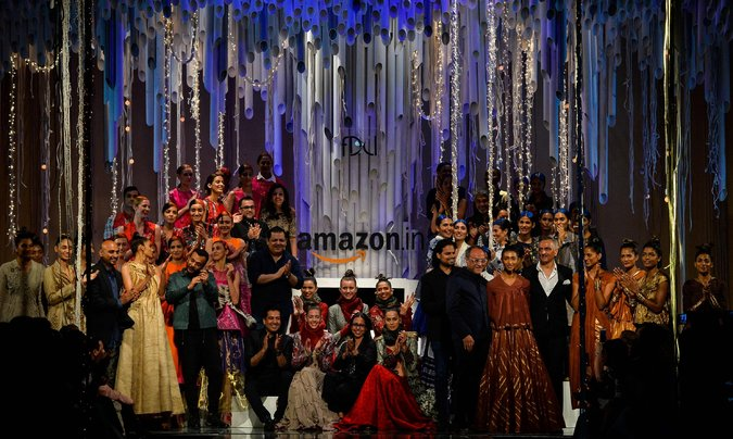 The finale at Amazon India Fashion Week last month in New Delhi. India figures prominently in Amazon's growth plans. Credit Chandan Khanna/Agence France-Presse — Getty Images