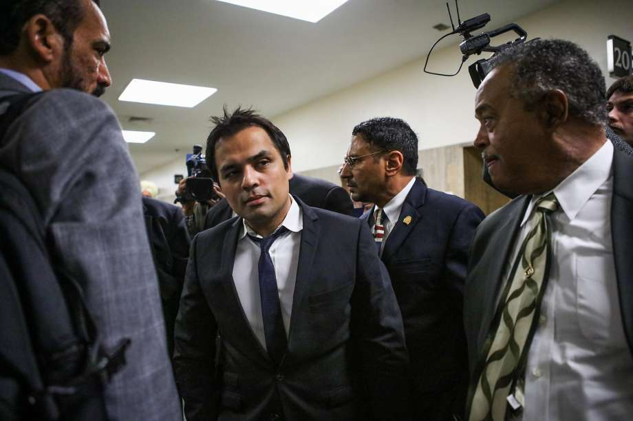 Gurbaksh Chahal, convicted of domestic abuse, exits a court hearing in S.F. over allegedly kicking an ex-girlfriend.