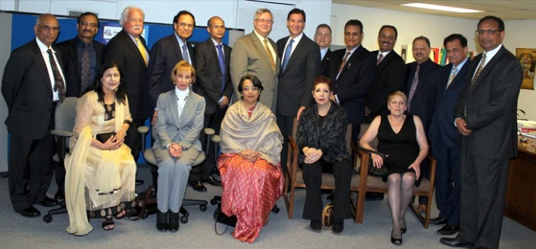Seated left to right: Dr. Sudha Parikh, NY Supreme Court Justice Ruth Balkins, Ambassador Riva Ganguly Das, Justice Denise Sher and Mary Cozzens. Standing L to R: Dr. Yashpal Arya, Dr. Vaijinath Chakote, Justice Bruce Cozzens, Dr. Dattatreyudu Nori, Deputy Consul General of India in New York Dr. Manoj Kumar Mohapatra, Justice Steven Bucaria, former County Executive Tom Suozzi, District Court Judge Anthony Paradiso, Varinder Bhalla, Dr. Sunil Mehra, Dr. Ajay Lodha, Dr. Sudhir Parikh and Animesh Goenka.