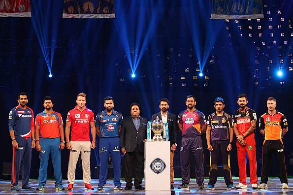 The captains of the eight teams in IPL 9 during the opening ceremony