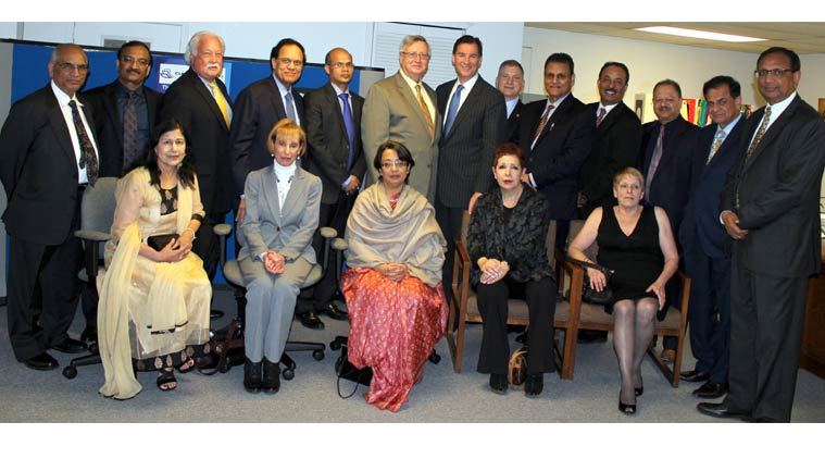 Consul General of India to New York Riva Ganguly Das (center), with New York Supreme Court Justices and members of the Indian American Voters Forum at her reception in New York on Thursday.