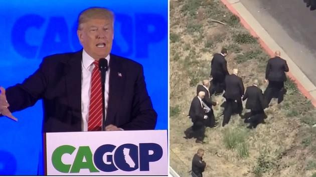 Republican frontrunner Donald Trump was forced to use an unorthodox entrance for his stump speech at the California State GOP Convention.