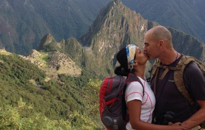 Mona Patel with her boyfriend, George Jahant, while climbing Machu Picchu.