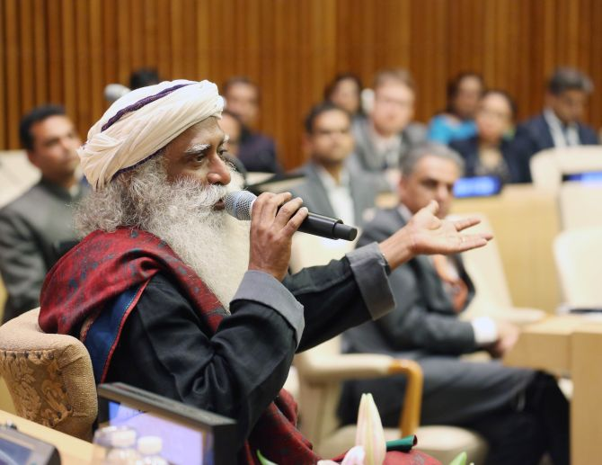 Sadhguru Jaggi Vasudev addressing the United Nations Diplomats