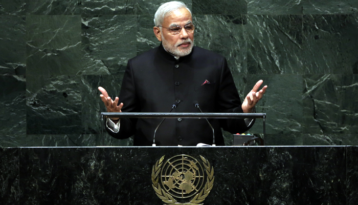 Prime Minister Narendra Modi, of India, addresses the 69th session of the United Nations General Assembly, at U.N. headquarters, Saturday, Sept. 27, 2014. (AP Photo/Richard Drew)