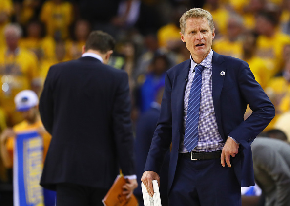 Head coach Steve Kerr of the Golden State Warriors reacts during the second half against the Cleveland Cavaliers in Game 5 of the 2016 NBA Finals
