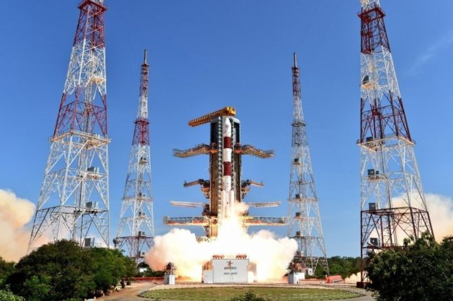The rocket carrying 20 satellites was launched from the Sriharikota space center