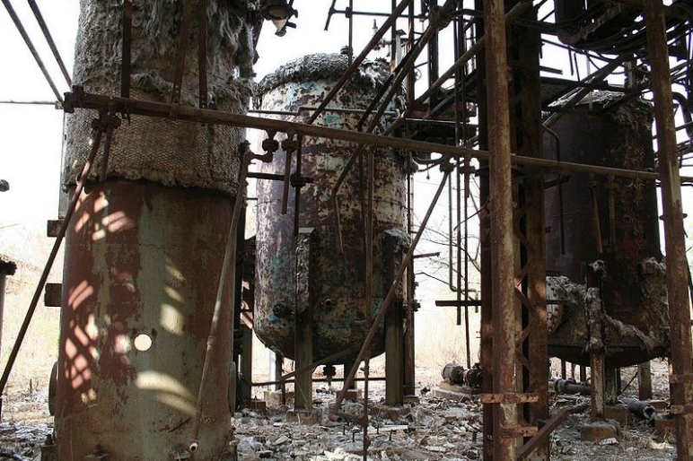A section of the Bhopal plant, decades after the gas leak.