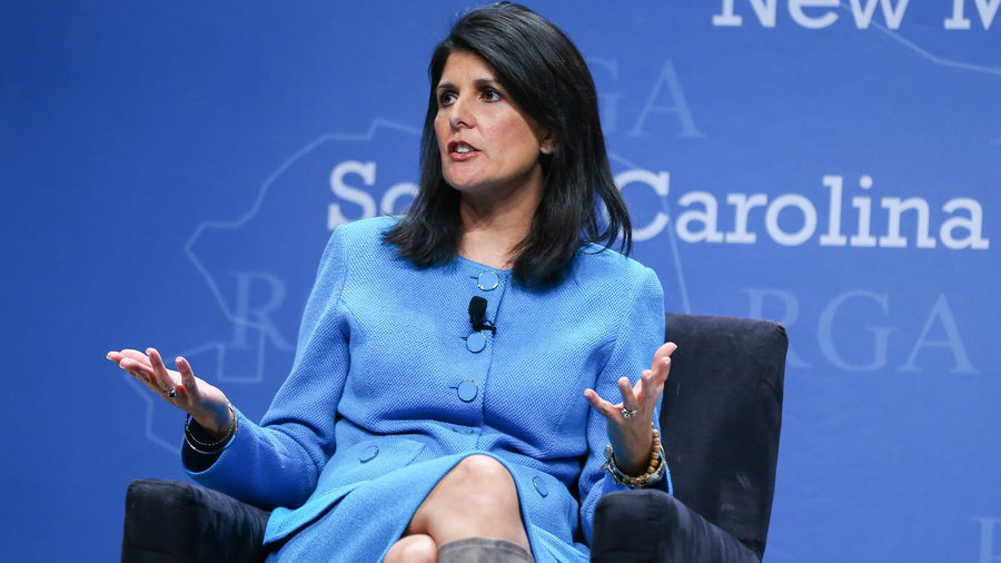 Nikki Haley participates in a panel discussion during the Republican Governors Association