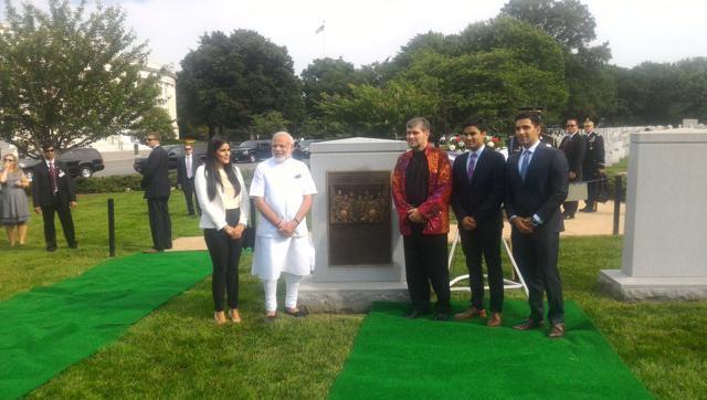 Narendra Modi with astronaut Kalpana Chawla's family.