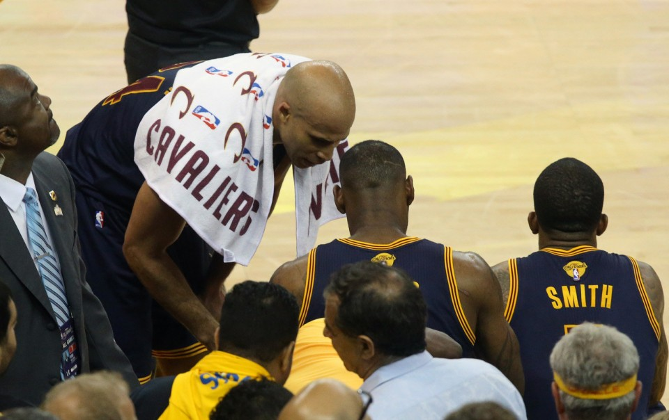 Richard Jefferson had some words with LeBron James as the final seconds ticked off in the loss in the NBA Finals game. (Thomas Ondrey/The Plain Dealer)