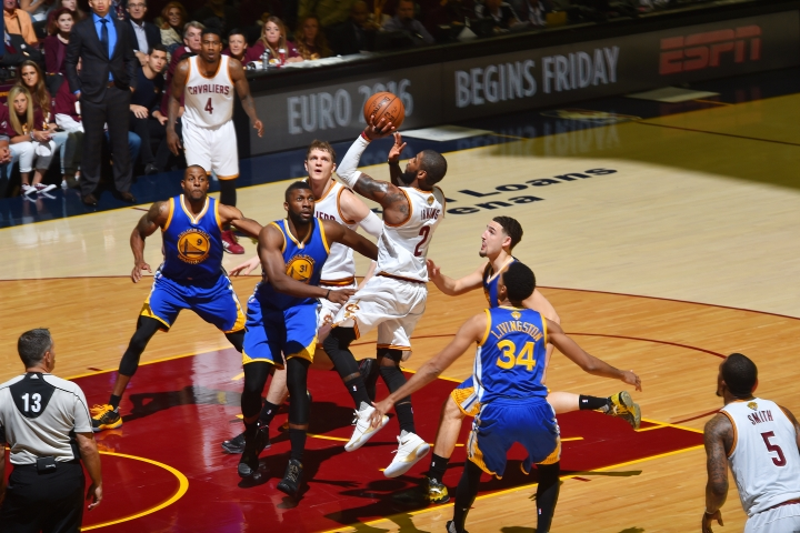 Kyrie Irving #2 of the Cleveland Cavaliers shoots the ball against the Golden State Warriors in Game Three of the 2016 NBA Finals on June 8, 2016 at Quicken Loans Arena in Cleveland, Ohio. Jesse D. Garrabrant/NBAE via Getty Images