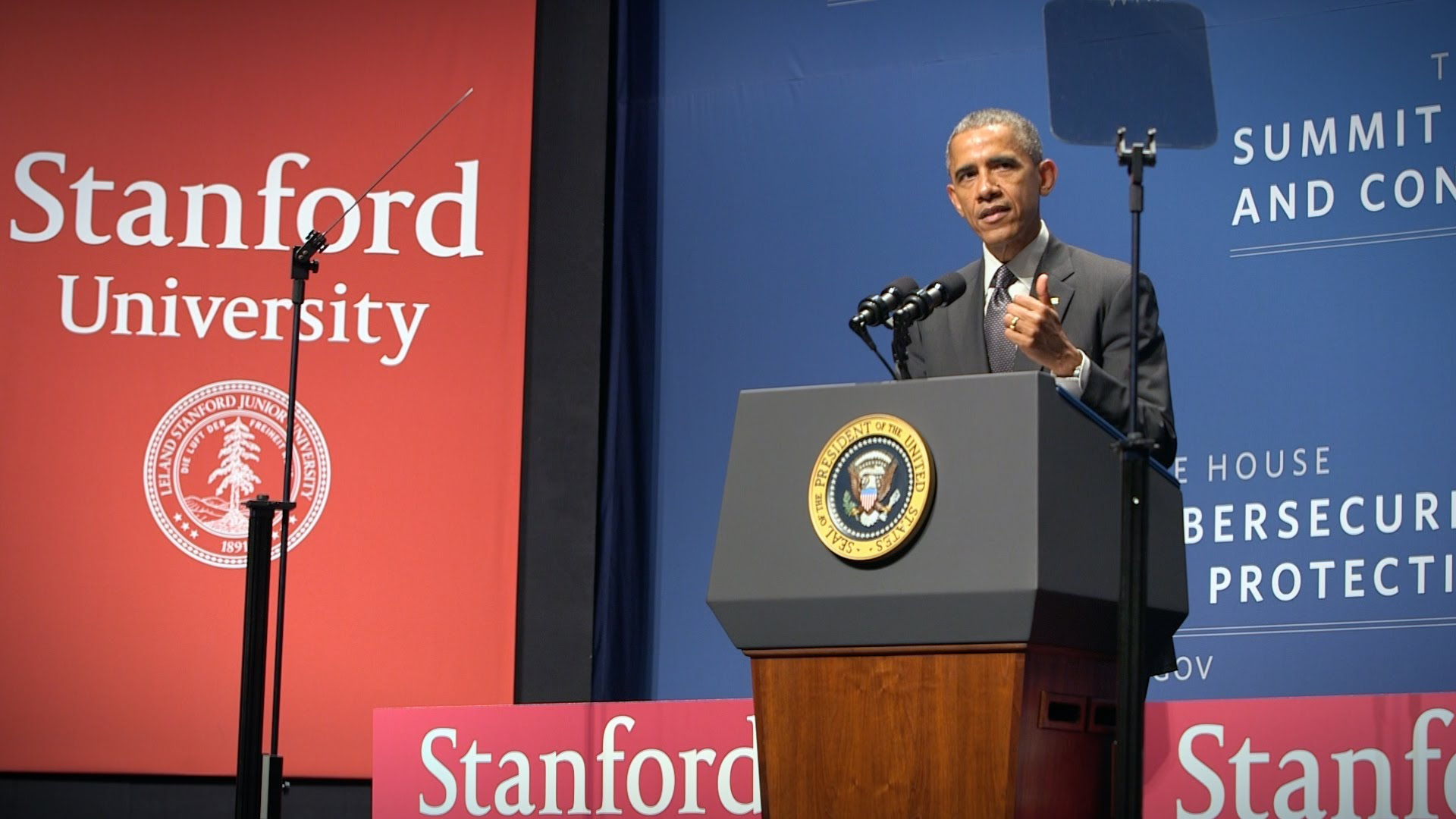 President Obama addresses the crowd at last year's cybersecurity conference at Stanford University.
