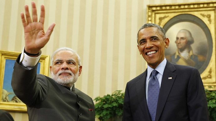 U.S. President Barack Obama hosts a meeting with India's Prime Minister Narendra Modi in the Oval Office