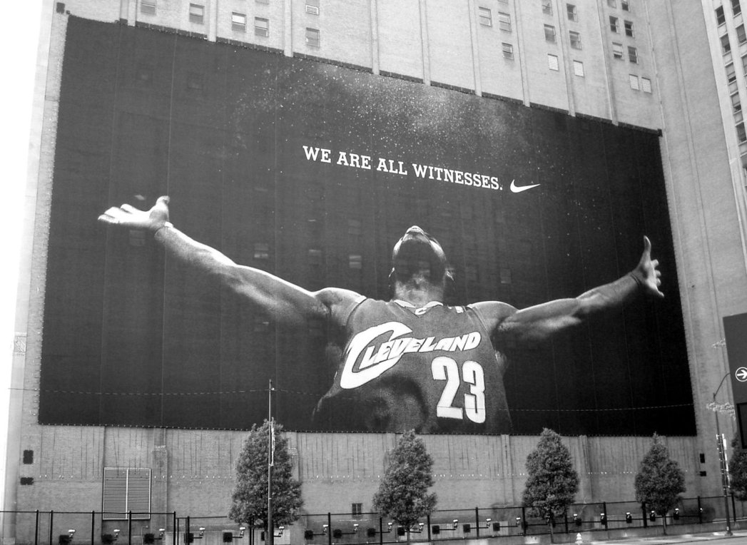 James' mega billboard in downtown Cleveland once took up the side of a building