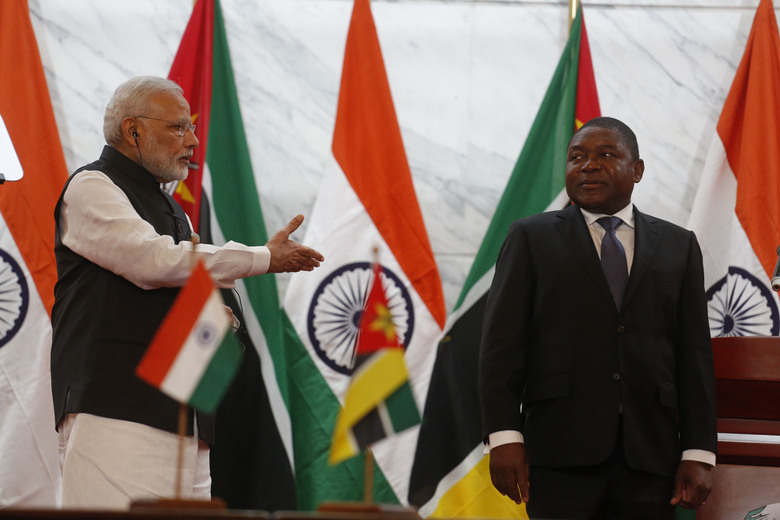 India Prime Minister Narendra Modi, left, gestures to Mozambique's President Filipe Jacinto Nyusi after a press briefing in Maputo, Mozambique, Thursday, July 7, 2016. India's prime minister has kicked off a... (AP Photo/Schalk van Zuydam)