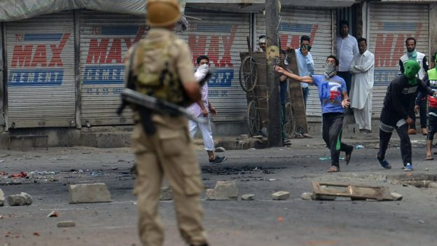 The clashes began after popular militant commander Burhan Wani was killed by security forces
