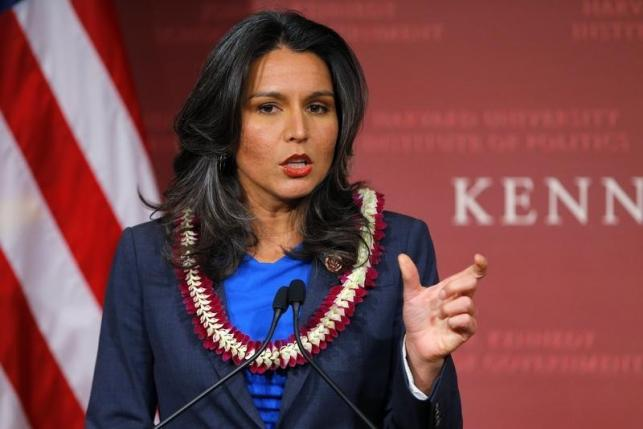 U.S. Representative Tulsi Gabbard (D-HI) speaks after being awarded a Frontier Award during a ceremony at the Kennedy School of Government at Harvard University in Cambridge, Massachusetts.
