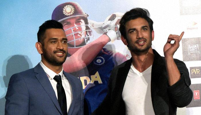 MS Dhoni and Sushant Singh Rajput at the trailer release