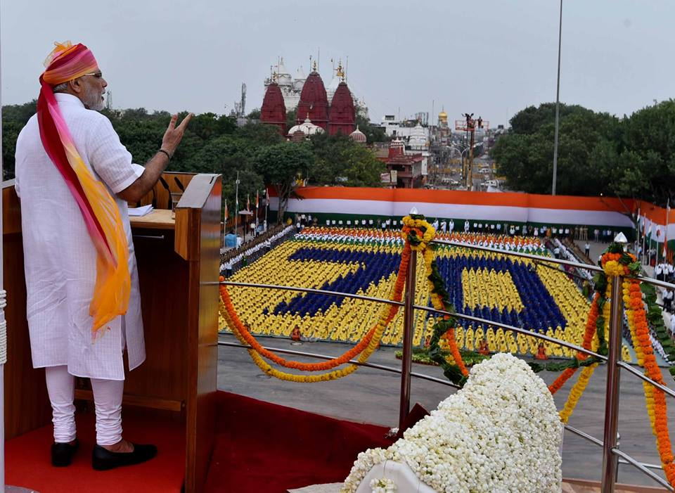 Indian Prime Minister Narendra Modi at the iconic Red Fort in New Delhi addressing the nation on India's 70th Independence Day Celebration