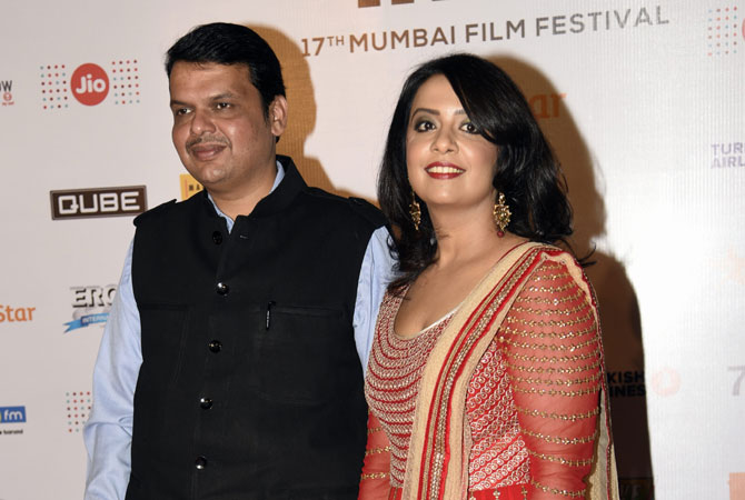 Amruta Fadnavis with her husband Devendra Fadnavis
