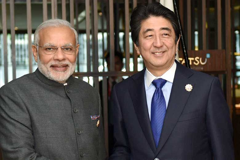 India and Japan Prime Ministers Narendra Modi and Shinzo Abe. Photo: The Financial Express