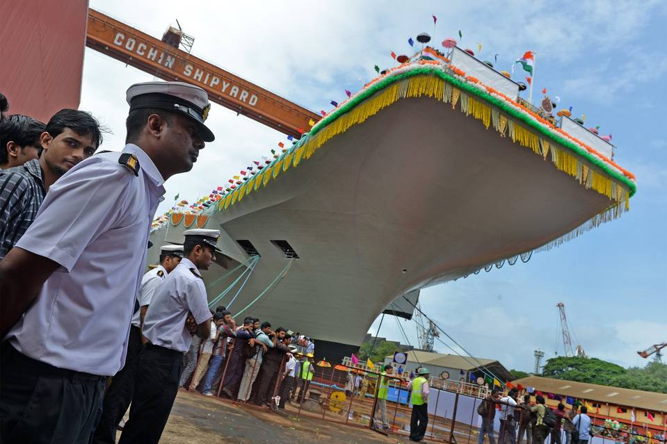 Officials launched the hull of the INS Vikrant at the Cochin Shipyard in Kochi in 2013. PHOTO: MANJUNATH KIRAN/AFP/GETTY IMAGES