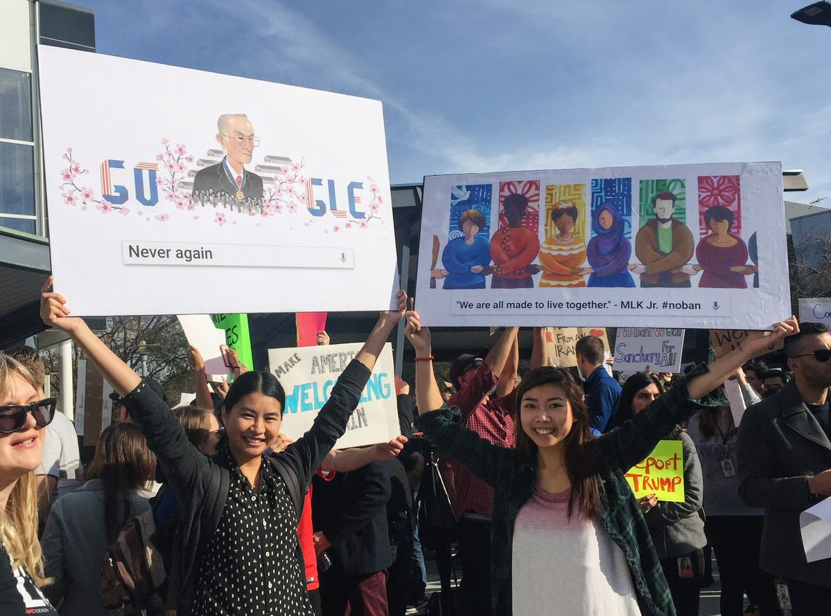Google Protest on Fred Korematsu Day NoBanNoWall