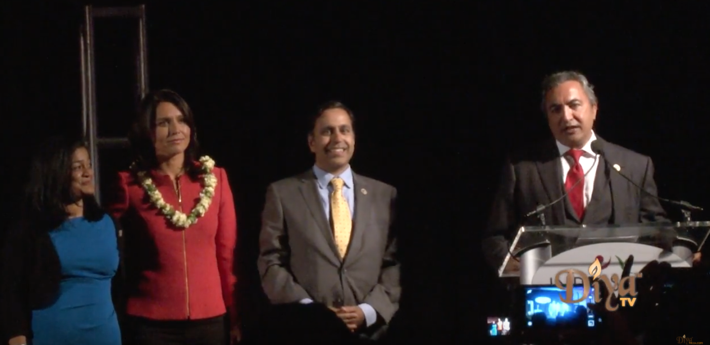 Congressmembers Pramila Jayapal, Tulsi Gabbard, Raja Krishnamoorthi and Ami Bera at the Indiaspora Gala 2017 in Washington DC.