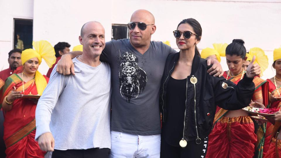 D.J Caruso, Vin Diesel and Deepika Padukone at Mumbai airport