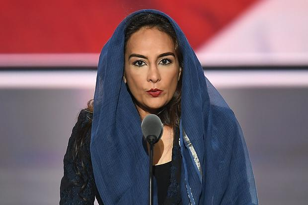 Harmeet Dhillon conducts the invocation during the second day of the Republican National Convention in Cleveland on July 19, 2016.