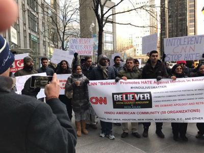 Protestors gather to voice their concern regarding Reza Aslan's show Believers (Courtesy: Facebook)