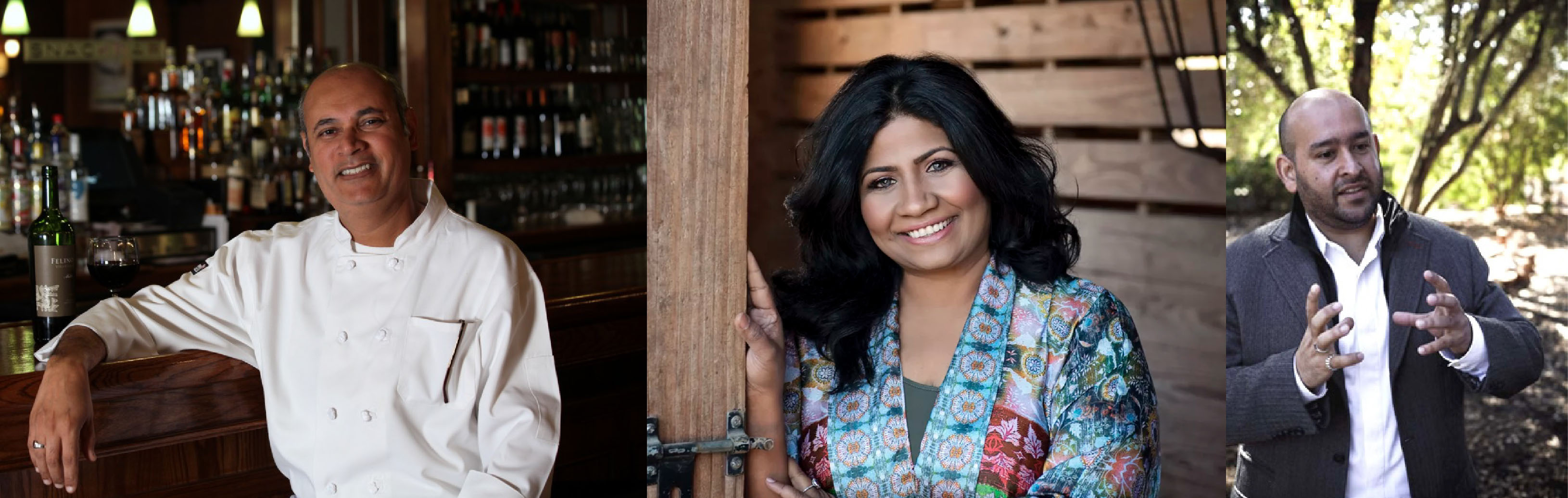 (Left to Right) Chef Vishwesh Bhatt, Chef Asha Gomez & Sommelier Rajat Parr, the three Indian Americans nominated for the 2017 James Beard Award