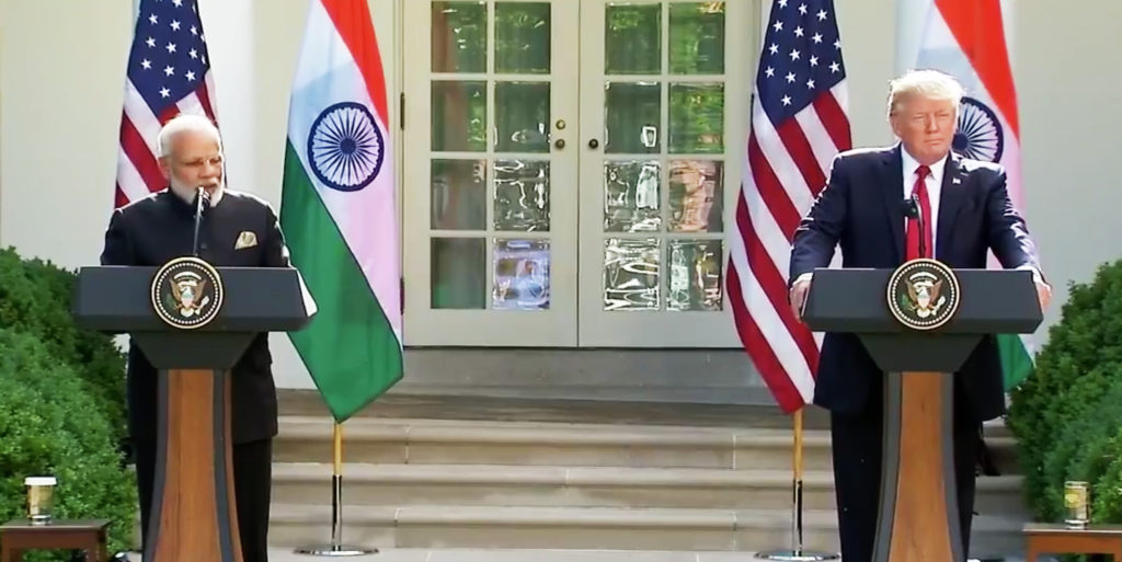 President Donald Trump and Indian Prime Minister Narendra Modi making joint statements in the Rose Garden of the White House in Washington