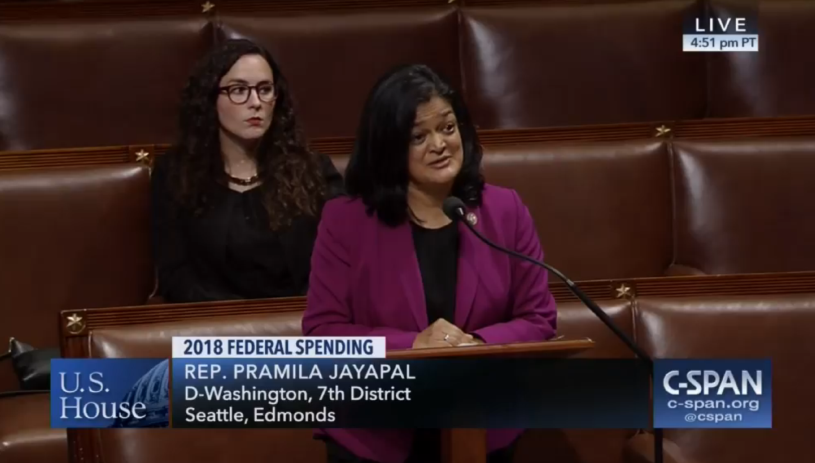 Washington Democratic Senator Pramila Jayapal challenges Alaska Republican Senator Don Young's House Floor comments