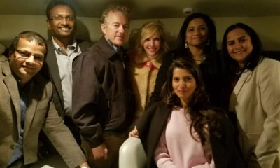 EXCLUSIVE: Sen. Rand Paul meets with members of the Republican Hindu Coalition in a private Newport Beach, CA reception. Left to right: Sudheer Chakka, Siva Moopanar, Senator Rand Paul, Kelley Paul, RHC Vice Chair Manasvi, Netra Chavan and Jyotsna Sharma