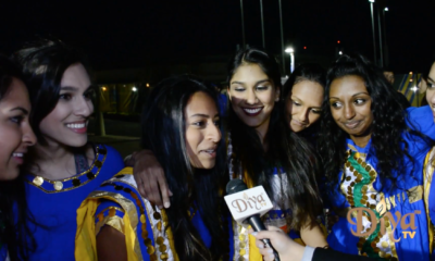 Stanford's competitive dance group Basmati Raas perform outside the Oracle Arena as fans make their way to see the NBA champs take on the Phoenix Suns