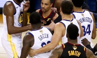 Game 1 gets chippy with 2.4 seconds left in OT, An altercation breaks out seconds before the end as Tristan Thompson gets ejected. Photo: AP/Ben Margot