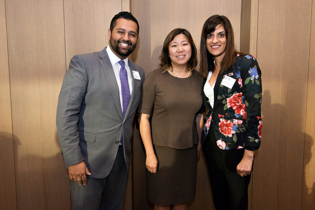 Outgoing President of SABA Rishi Bagga, Rep. Grace Meng and the incoming President of Sundeep Sandhu at the opening night reception