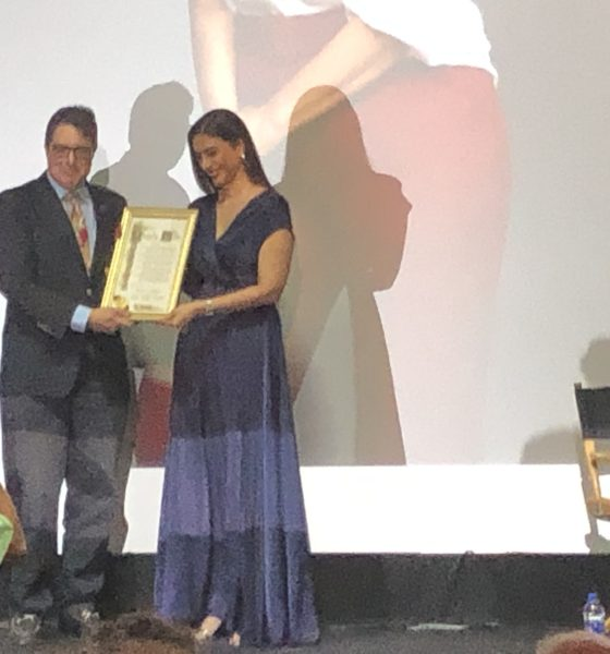 Actress Tabassum 'Tabu' being honored before the screening of her film Andhadhun at 2019 IFFLA Opening Night